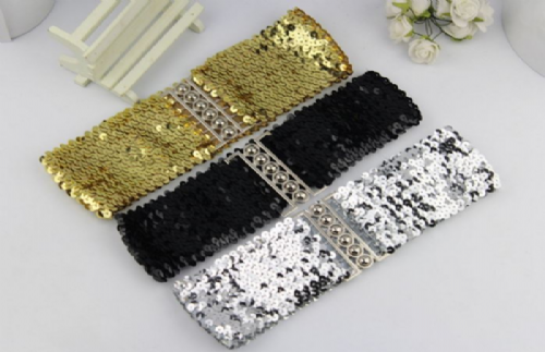 Belt Women's Elastic Sequin Stretch Belt Ladies Stretch Belt - Zabardo